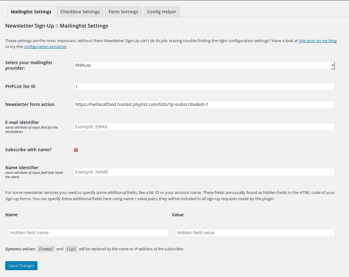 Wordpress Integration Newsletter Sign Up Plugin Support