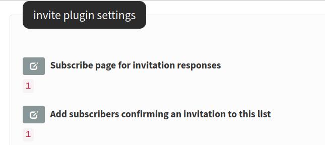 invite plugin settings
